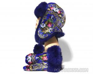 """Меховой комплект """"Шапка+рукавички"""" синий"""
