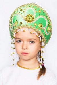 "Кокошник  ""Алина"" (зелёный)"
