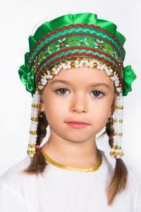 """Кокошник  """"Инна"""" (зелёный)"""
