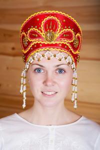 """Кокошник  """"Виктория"""" (красный)"""