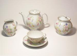 """Сервиз чайный """"Белый лебедь"""" (Душистый горошек) 15 предметов"""