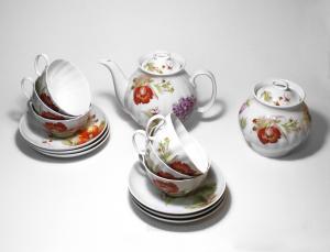 """Сервиз чайный """"Белый лебедь"""" (Альпийские цветы) 14 предметов"""