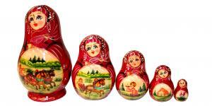 """Матрёшка """"Деревенский пейзаж"""" 5 - ти кукольная"""