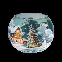 """Подсвечник  ваза шар """"Зимний день. Снеговик"""""""