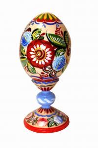 """Пасхальное яйцо """"Городецкая роспись"""" на ножке"""