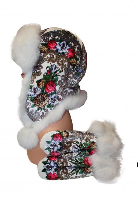 """Комплект из натурального меха """"Шапка+рукавички"""" белый"""