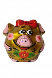 Свинка с хохломской росписью