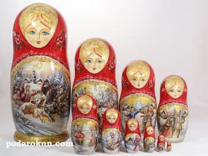 """Матрёшка """"Русская Тройка"""" 10-и кукольная"""