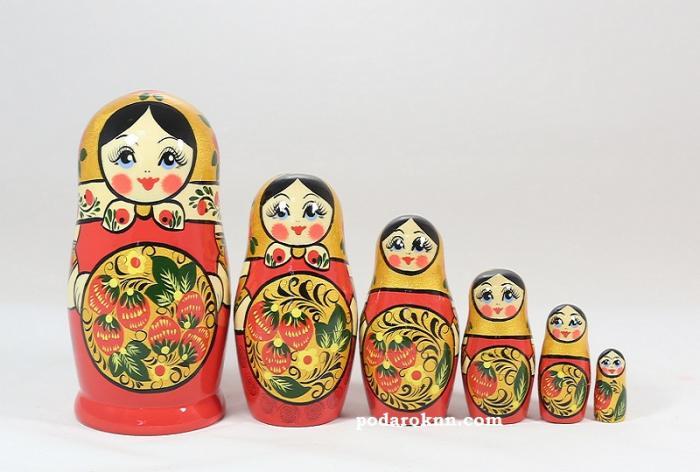 "Матрёшка ""Хохлома"" 6 - ти кукольная"