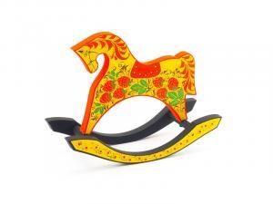 Конь-качалка с хохломской росписью