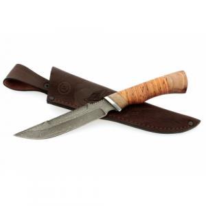 """Нож """"Осётр"""" из дамасской стали с рукоятью из бересты и черного дерева"""