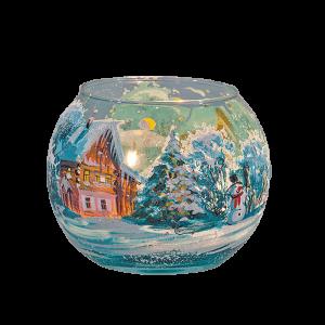 """Подсвечник ваза-шар """"Зимний день. Снеговик"""""""