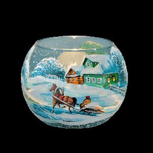 """Подсвечник ваза шар """"Зимний день. Повозка"""""""