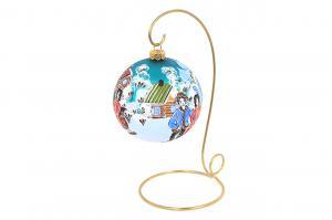 Ёлочный шар с городецкой росписью