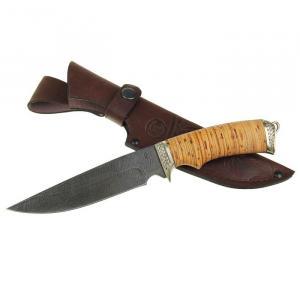"""Нож """"Легионер"""" из дамасской стали с  рукоятью из бересты"""