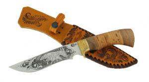 """Нож """"Галеон"""" из нержавеющей стали 65х13 рукоять из бересты, ореха и литья из латуни"""
