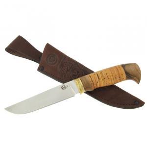 """Нож """"Куница"""" из нержавеющей стали 65х13 с рукоятью из бересты, ореха и литья из латуни"""